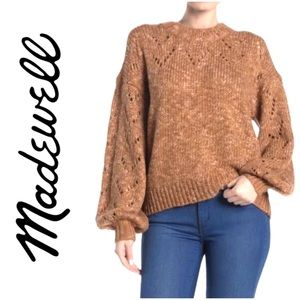 Madewell Sweater Pointelle Bubble Sleeve Pullover